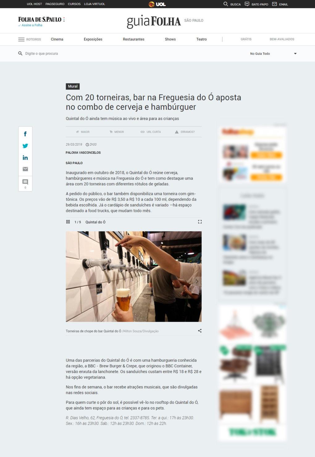 [Folha] Com 20 torneiras, bar na Freguesia do Ó aposta no combo de cerveja e hambúrguer